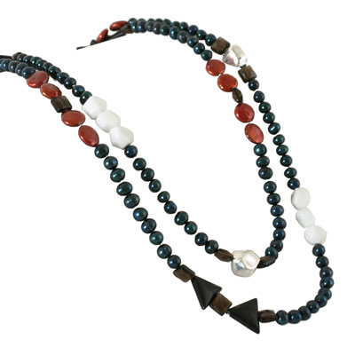 IPEARL 48 Inch Freshwater Pearl Necklace with Round Blue Pearls, Onyx,  Agate & Smoky Quartz (TRN-10394)