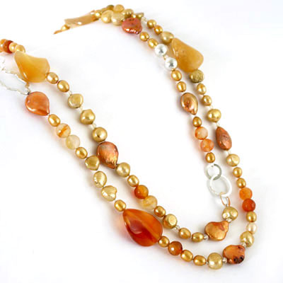 IPEARL 2-Row 48 Inch Freshwater Pearl Necklace with Round Yellow Pearl, Crystal & Agate (TRN-10398)