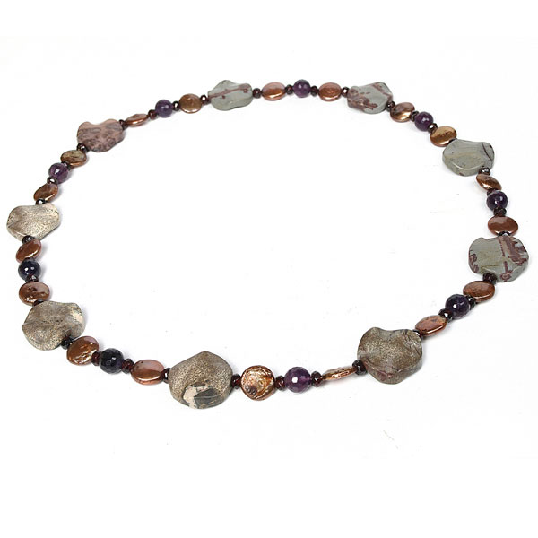 24 Inch Freshwater Pearl Necklace by IPEARL with 11mm Brown Coin Pearls, Jasper, Amethyst & Garnet (TRN-10402)