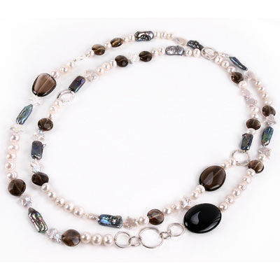 IPEARL 48 Inch Freshwater Pearl Necklace with Round White Pearl, Black Agate & Smoky Quartz (TRN-10405)