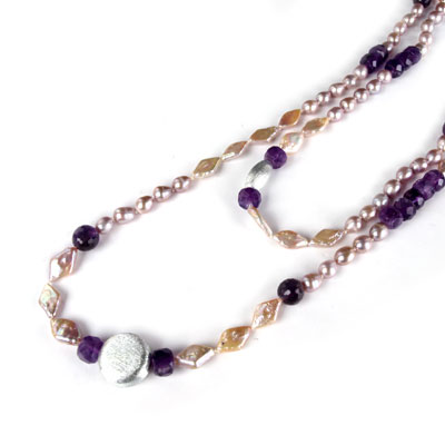 IPEARL 48 Inch Freshwater Pearl Necklace with 7-8mm Round Purple Pearl and Amethyst (TRN-10414)