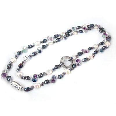 IPEARL 48 Inch Freshwater Pearl Necklace with Coin White Pearl, Cloud Crystal & Fluorite (TRN-10417)
