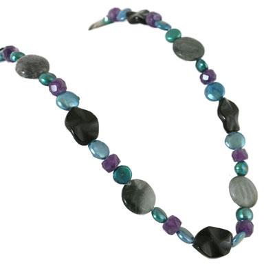 IPEARL 24 Inch Freshwater Pearl Necklace with 9-10mm Blue Coin Pearls,  Agate and  Amethyst (TRN-10425)