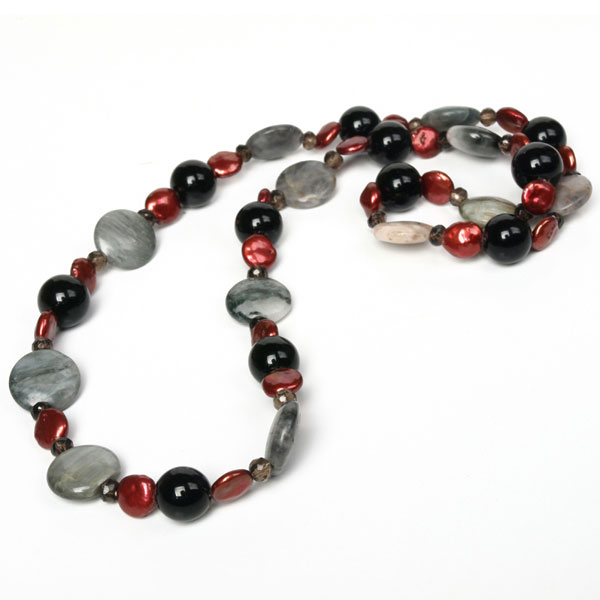 28 Inch Freshwater Pearl Necklace by IPEARL with Red Coin Pearls with Smoky Quartz and Hawk (TRN-10427)