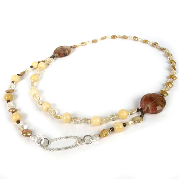 24 Inch Freshwater Pearl Necklace by IPEARL with Yellow Coin Pearl, Cherry Stone, Yellow Jade & Smoky Quartz (TRN-10428)
