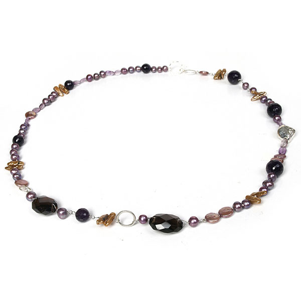 IPEARL 30 Inch Freshwater Pearl Necklace with 7-8mm Purple Round Pearls and Smoky Quartz (TRN-10435)