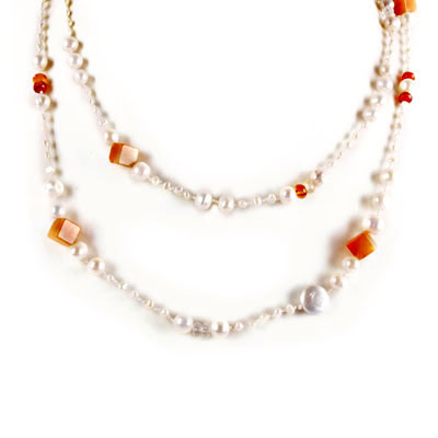 IPEARL 72 Inch Freshwater Pearl Necklace with Round White Pearl, Agate, Aventurine and Citrine (TRN-10478)