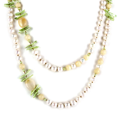 IPEARL 48 Inch Freshwater Pearl Necklace with 8-9mm White Pearl and Jade (TRN-10512)