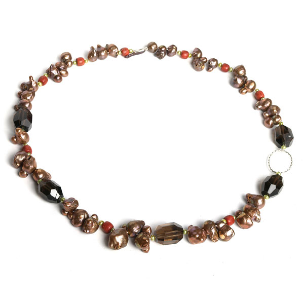 IPEARL 24 Inch Freshwater Pearl Necklace with 7-8mm Brown Keishi Pearls and Smoky Quartz (TRN-10523)