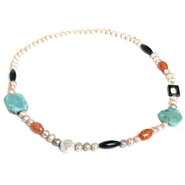 IPEARL 30 Inch Freshwater Pearl Necklace with 9-10mm Cream Round Pearls, Agate &Turquoise (TRN-10531)