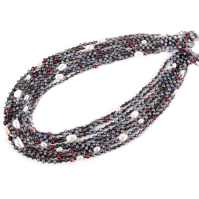 24 Inch Multi-Strand Freshwater Pearl Necklace by IPEARL with 4-5mm Multicolor Rice Pearls; Silver Clasp (TRN-10543)