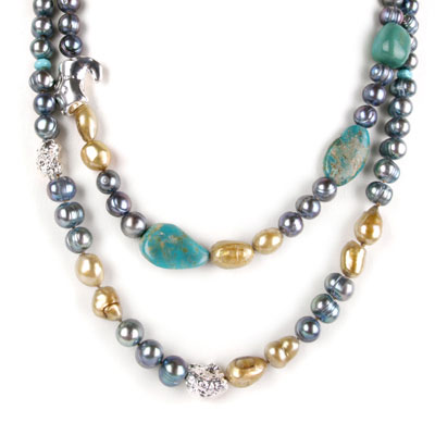 IPEARL 2 Strand 30 Inch Freshwater Pearl Necklace with 9-10mm Blue Pearl and Turquoise (TRN-10675)