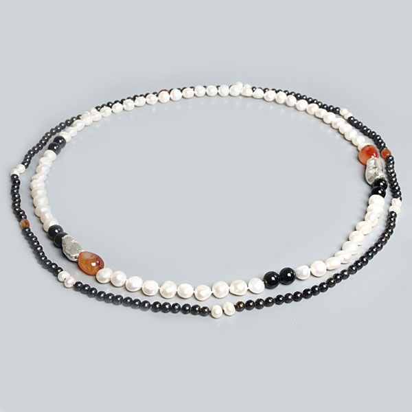 Freshwater Pearl Necklaces (2 piece set) by IPEARL with Round Brown & White Baroque Pearls & Carnelian (TRN-10680)