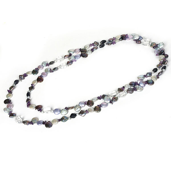 IPEARL 64 Inch Freshwater Pearl Necklace with Coin Blue Pearl, Amethyst & Crystal (TRN-10684E)