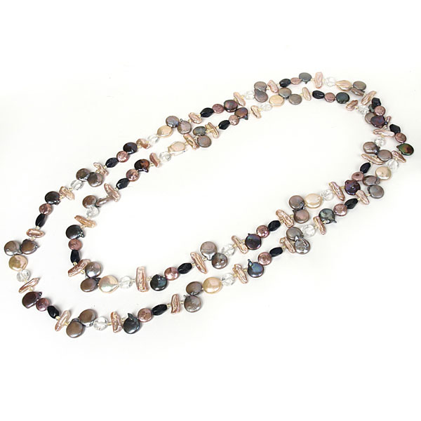 IPEARL 64 Inch Freshwater Pearl Necklace with Coin Multicolor Pearls, Amethyst and White Crystal (TRN-10684I)