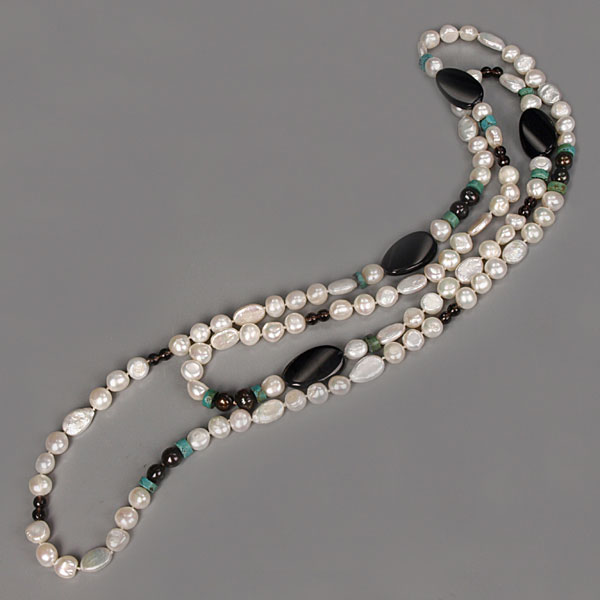 IPEARL 54 Inch Freshwater Pearl Necklace with Baroque White Pearl, Smoky Quartz, Turquoise & Black Agate (TRN-10684N)