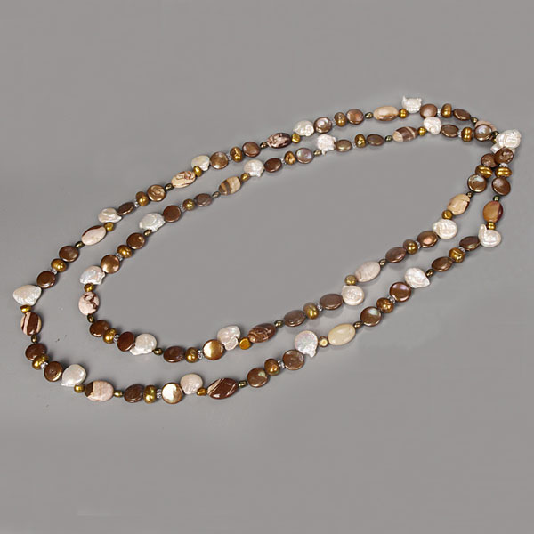 IPEARL 64 Inch Freshwater Pearl Necklace with Coin Brown Pearl, White Crystal & Mexican Agate (TRN-10684P)