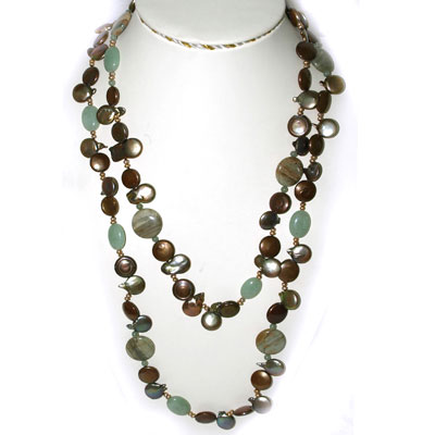 IPEARL  54 Inch Freshwater Pearl Necklace with Coin Brown Pearl and Aventurine,  Amazonite &  Agate (TRN-10698E)