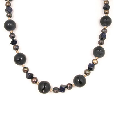 30 Inch Freshwater Pearl Necklace by IPEARL with 9-10mm Peacock Round Pearls, Agate, Crystal & Sandstone; Copper Clasp (TRN-2085)