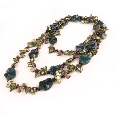 48 Inch Freshwater Pearl Necklace by IPEARL with 8-9mm Green Blister Pearls, Agate, Crystal & Garnet (TRN-2477)