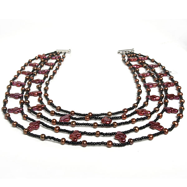 IPEARL 4-Row 18 Inch Charming Necklace with Red Pearl, Rice Brown Pearl, Copper Clasp (TRN-2735)
