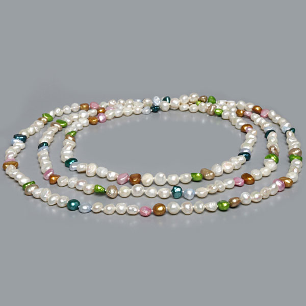 64 Inch Freshwater Pearl Necklace by IPEARL with 7-8mm Multicolor Baroque Pearls (TRN-2851)