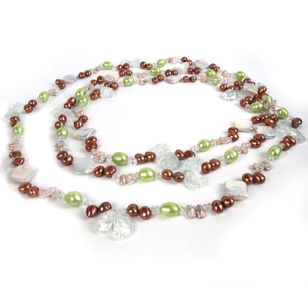 64 Inch Freshwater Pearl Necklace by IPEARL with 7-8mm Red & Green Baroque Pearls, Crystal and Aquamarine (TRN-2914)