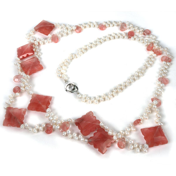 30 Inch Freshwater Pearl Necklace by IPEARL with 5-6mm White Rice Pearls & Cherry Quartz; Silver Clasp (TRN-2938)
