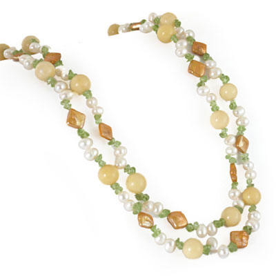 64 Inch Freshwater Pearl Necklace by IPEARL with 7-8mm White Rice Pearls, Jade & Peridot (TRN-2983)