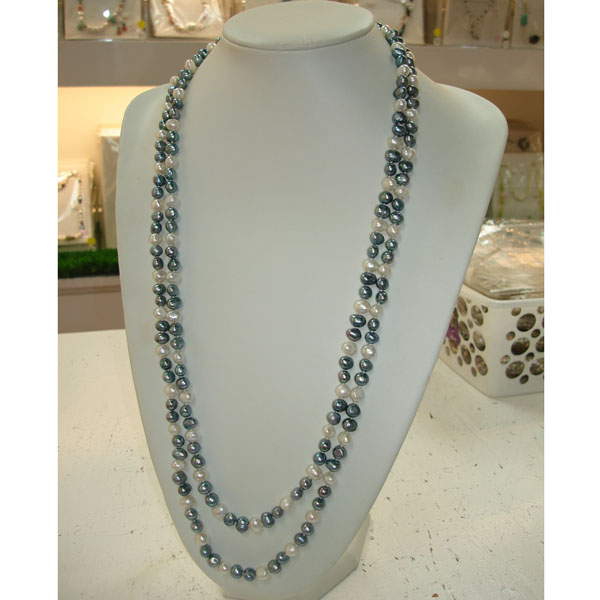 64 Inch Freshwater Pearl Necklace by IPEARL with 8-9mm Light Peacock Baroque Pearls (TRN-2996I)