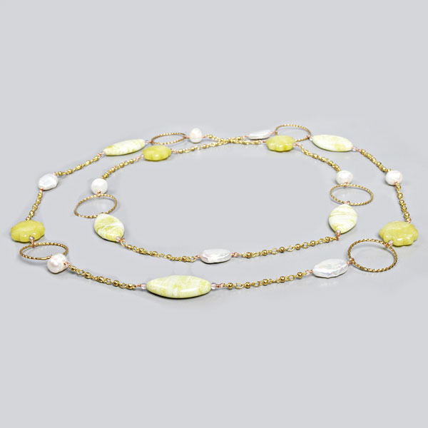 48 Inch Freshwater Pearl Necklace by IPEARL with Round White Pearl, Lemon Jade & Yellow Jade (TRN-30043B)