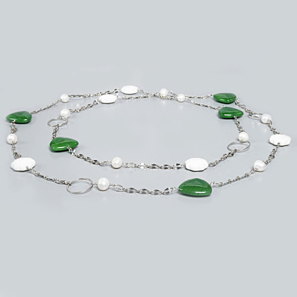54 Inch Freshwater Pearl Necklace by IPEARL with Round White Pearl and Enhanced Jade (TRN-30047B)
