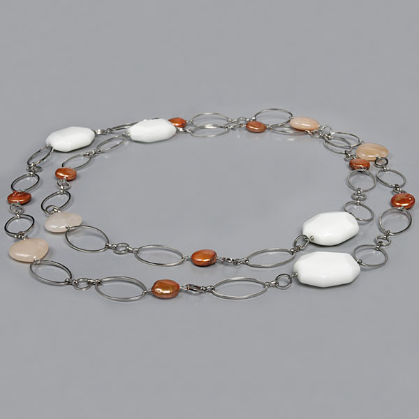 48 Inch Freshwater Pearl Necklace by IPEARL with 11mm Coin Coffee Pearl, White Porcelain & Pink Aventurine (TRN-30051)