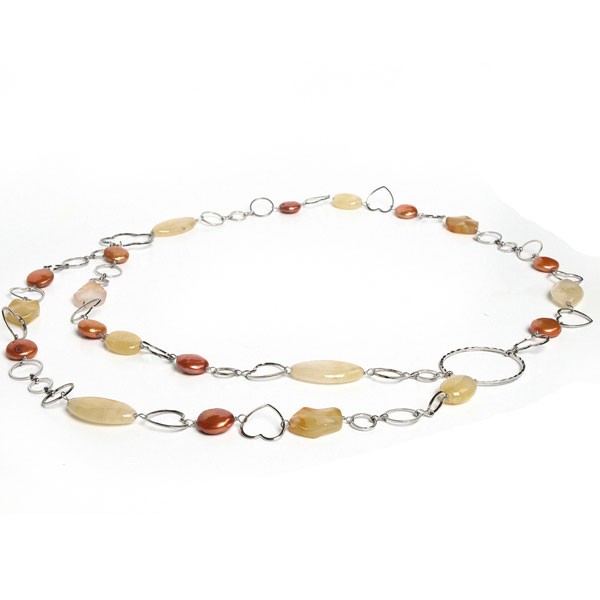 30 Inch Freshwater Pearl Necklace by IPEARL with 10-11mm Coin Coffee Pearl, Aventurine & Jade (TRN-30055)