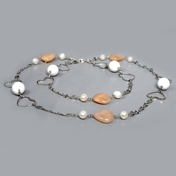 30 Inch Freshwater Pearl Necklace by IPEARL with Round White Pearl, Pink Aventurine & White Porcelain (TRN-30161)