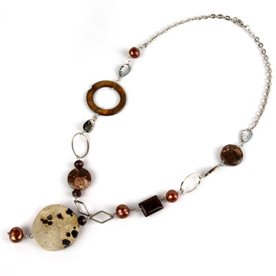 20 Inch Freshwater Pearl Necklace by IPEARL with 9-10mm Round Red Pearl and Picture Jasper, Rain Flower Stone, Shell & Garnet; Copper Clasp (TRN-30351)