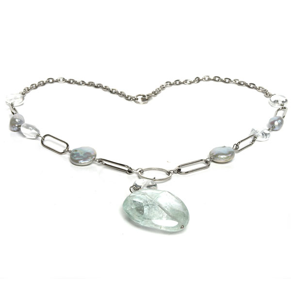 18 Inch Freshwater Pearl Necklace by IPEARL with 8-9mm Baroque Grey Pearl, Fluorite & Crystal, Copper Clasp (TRN-30357)