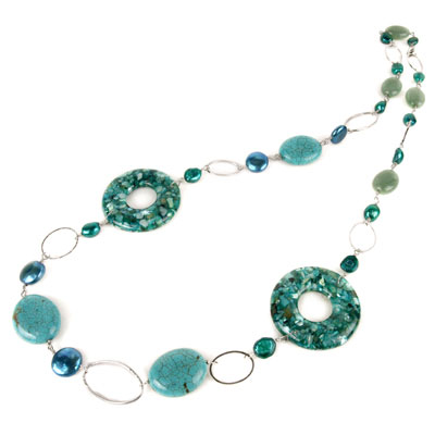 Freshwater Pearl Necklace by IPEARL with 11mm Coin Blue Pearl, Aventurine, Shell & Turquoise (TRN-30368)