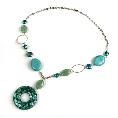 20 Inch Freshwater Pearl Necklace by IPEARL with 11mm Coin Blue Pearl, Aventurine, Shell, Turquoise; Copper Clasp (TRN-30369)