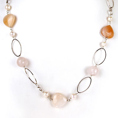 Freshwater Pearl Necklace by IPEARL with 8-9mm Round Pearl, Crystal & Aventurine; Copper Clasp (TRN-30381)