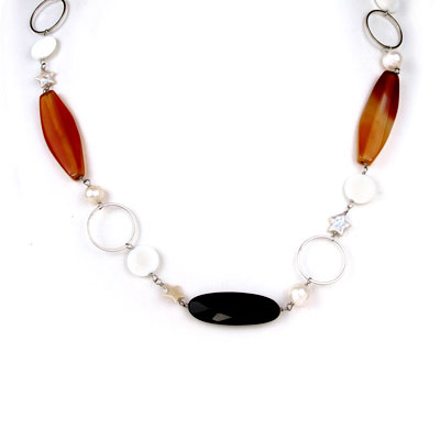 Freshwater Pearl Necklace by IPEARL with 9-10mm Round White Pearl, White Porcelain & Agate; Copper Clasp (TRN-30425)