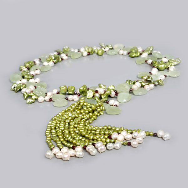 64 Inch Lariat Style Green Freshwater Pearl Necklace by IPEARL with Teardrop White Pearl, Serpentine & Garnet (TRN-3073-P1)