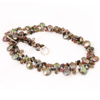 18 Inch Double Strand Freshwater Pearl Necklace with Green Coin Pearls, Tourmaline & Crystal;  Silver Clasp (TRN-3403)