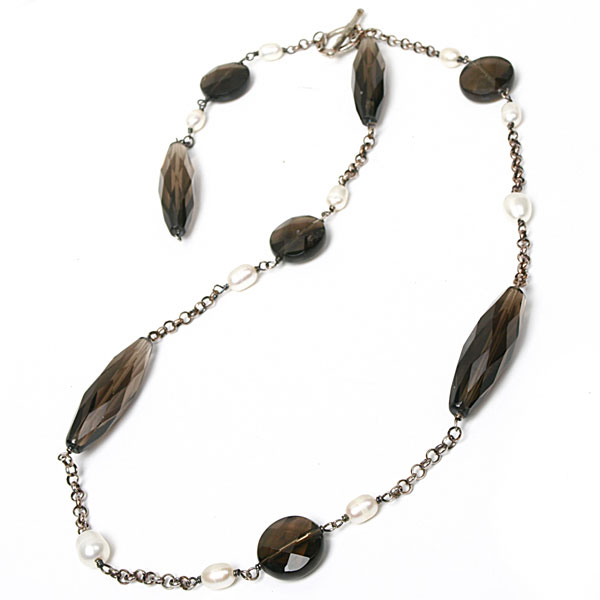24 Inch Freshwater Pearl Necklace by IPEARL with 7-8mm White Rice Pearls and Smoky Quartz; Silver Clasp (TRN-3418)