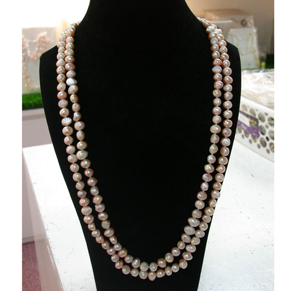 64 Inch Pink Freshwater Pearl Necklace by IPEARL with 8-9mm Pink Baroque Pearls (TRN-3422)