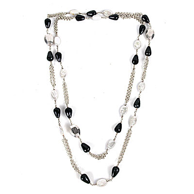 48 Inch Freshwater Pearl Necklace by IPEARL with White Oval Pearls and Agate (TRN-3592)