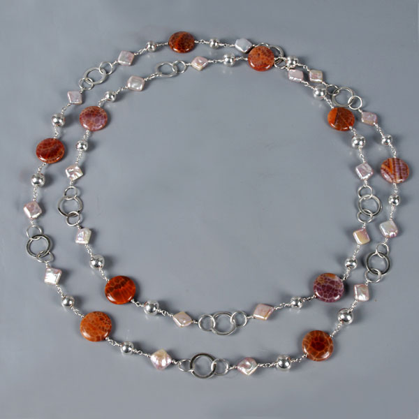 54 Inch Freshwater Pearl Necklace by IPEARL with Pink Keishi Pearls and Fire Crackle Agate (TRN-3686)