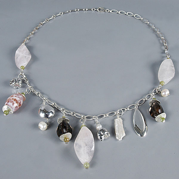 18 Inch Freshwater Pearl Necklace by IPEARL with Round White Pearl, Rose Quartz & Agate, Silver Clasp (TRN-3790)