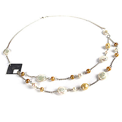 24 Inch Freshwater Pearl Necklace by IPEARL with Coin White Pearl, and Baroque & Round Yellow Pearl, Silver Clasp (TRN-3989)