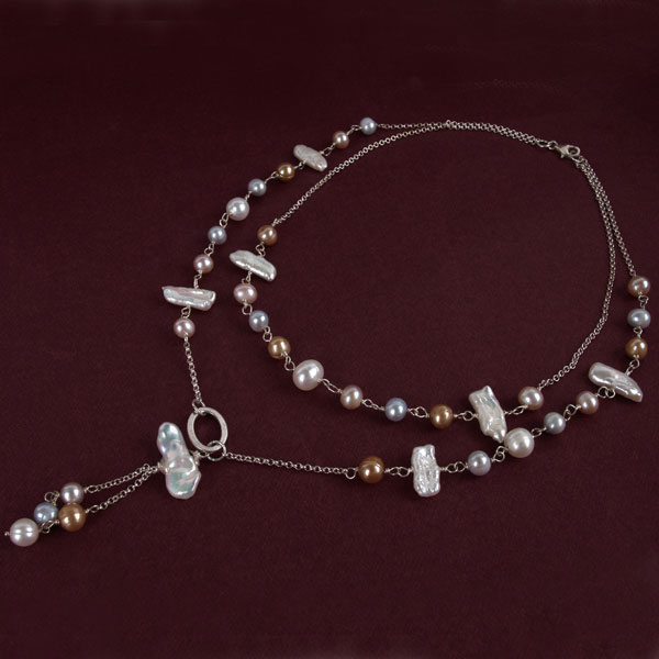 18 Inch Freshwater Pearl Necklace by IPEARL with 6-7mm Round Pearls; Silver Clasp (TRN-3995)